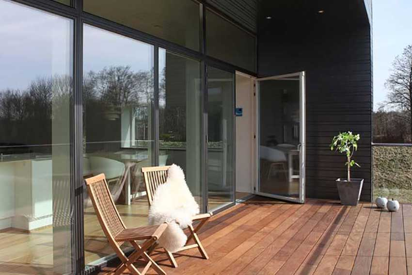 BLACK ALUMINIUM CLAD FRENCH DOORS