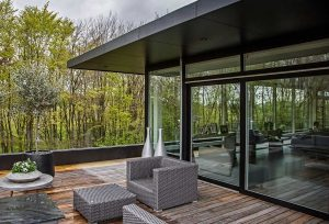 Aluminium glass black sliding patio doors