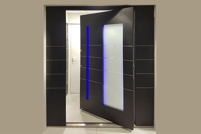 RK Aluminium Pivot Door with LED Dorset, Somerset, Devonlighting