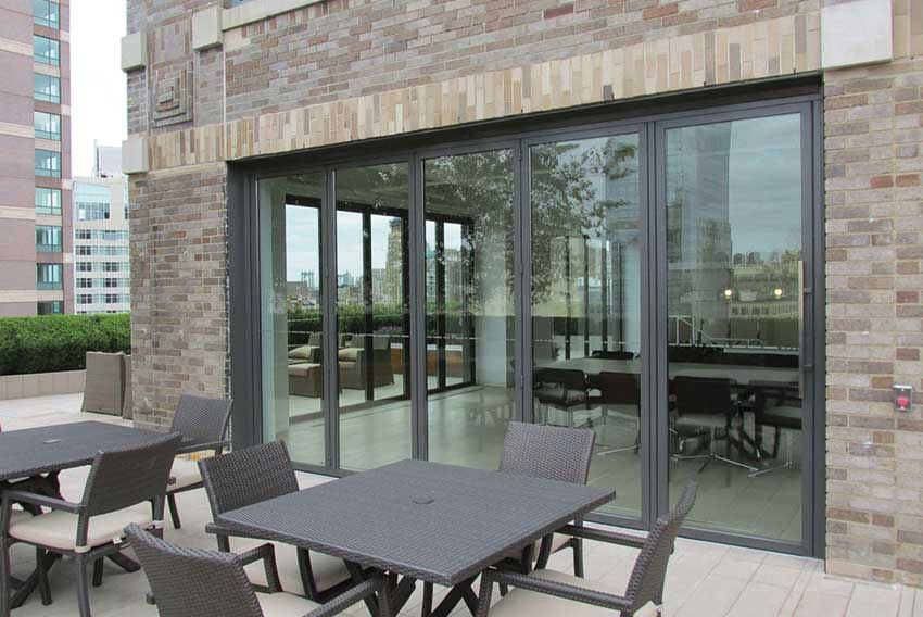 Grey Sunflex SF55 bi folding glass Door
