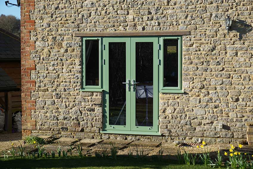 green aluminium french doors