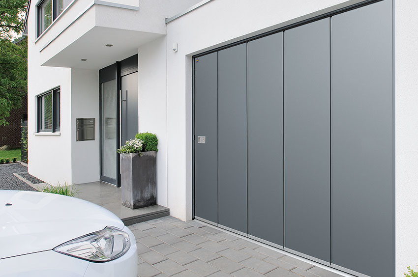 Grey side sliding sectional garage door