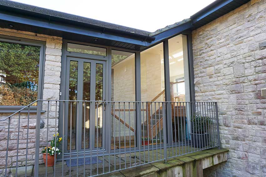 Smart aluminium front door in grey Dorset, Somerset, Devon