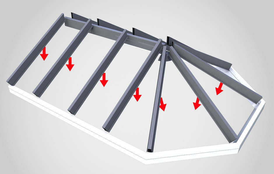Warm roof rafters for conservatory