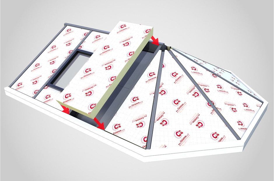 Celotext insulated warm roof for conservatory