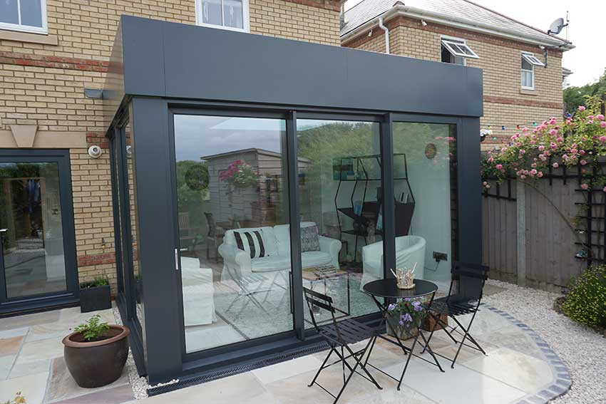 Grey glazed kitchen extension in Dorset