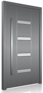 RK200 grey glazed aluminium front door