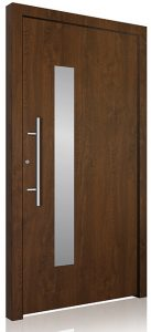 Aluminium front door wood effect