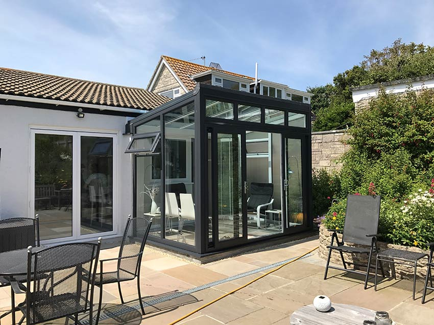 Grey modern conservatory suppliers in Dorset