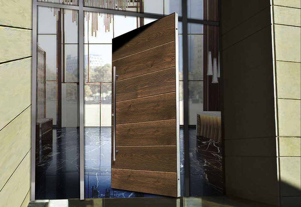 Wood effect RK aluminium pivot door