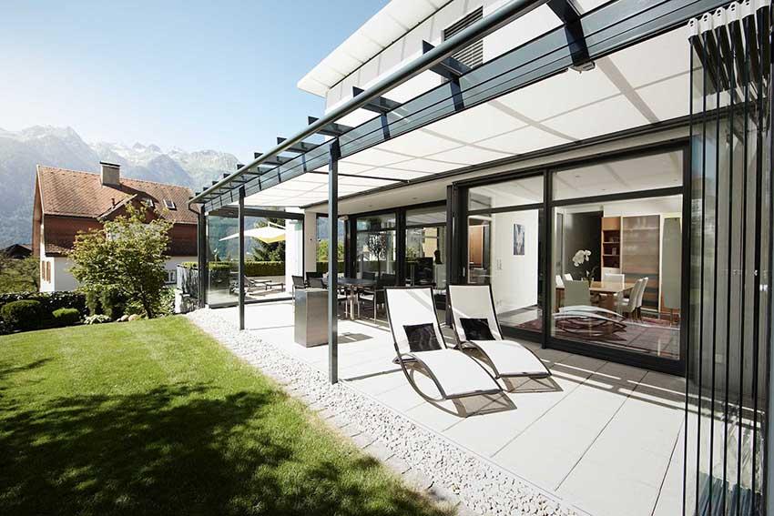 Solarlux glass canopy atrium